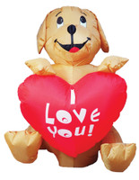 4ft Airblown Red I Love You Dog w Heart Inflatable LED Valentines Day Inflate Yard Decor Decoration