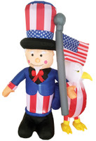 6 ft Airblown Uncle Sam w Eagle Inflatable Patriotic 4th of July Independence Day Inflate Yard Decor Decoration