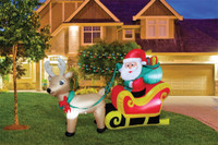 6 ft long Lighted Santa Claus on Sleigh air blown airblown Inflatable Christmas Yard Decor Decoration