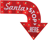 "19"" tall Vintage style Lighted Santa Claus Stop Here Sign Christmas Yard Decor Decoration"