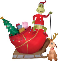 12' tall Lighted air blown airblown-Grinch Max in Sleigh Grinch Inflatable Christmas Dr Seuss Yard Decor Outdoor Decoration