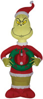 "48"" tall Lighted air blown airblown Grinch w/Wreath-small Inflatable Christmas Dr Seuss Yard Decor Outdoor Decoration"