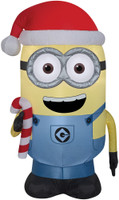 "42"" tall Lighted air blown airblown Minion Dave w/ Candy Cane Inflatable Christmas Despicables  Yard Decor Outdoor Decoration"