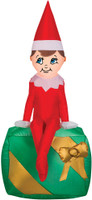 "42"" airblown Elf on Present Inflatable Christmas on a shelf Yard Decor"