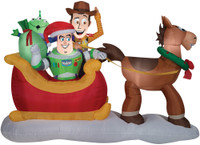 "62"" tall Lighted air blown airblown Toy Story w/ Sleigh Inflatable Christmas w/sleigh-sc Yard Decor Outdoor Decoration"