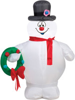"42"" tall Lighted air blown airblown Frosty the Snowman Holding Wreath Inflatable Christmas Yard Decor Outdoor Decoration"