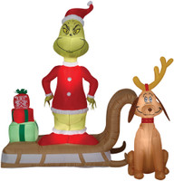 "72"" tall Lighted air blown airblown-Grinch Max in Sleigh Grinch Inflatable Christmas Dr Seuss Yard Decor Outdoor Decoration"