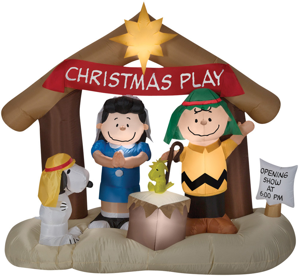 """69"""" tall Lighted air blown airblown Peanuts Nativity Scene Charlie Brown Inflatable Christmas Snoopy Lucy Woodstock Yard Decor Outdoor Decoration"""
