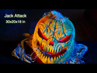 "30"" Life Size Jack Attack Static Light-Up Pumpkin Jack-O-Lantern Halloween Prop"