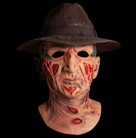 Deluxe Nightmare On Elm Street Freddy Krueger with Fedora Hat Halloween Costume Mask