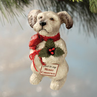 Bethany Lowe Terrier Puppy with Holy Ornament A Child's Christmas Decoration