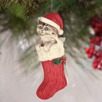 Bethany Lowe Santa Claws Ornament A Child's Christmas Cat in Stocking Decoration