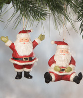 Bethany Lowe Set of 2 Little Santa Claus Ornaments Retro Christmas Decoration