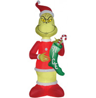 9' airblown Grinch with Stocking Santa Inflatable Christmas Dr Seuss Yard Decor