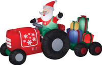 "102"" airblown Santa on Tractor with Presents Inflatable Christmas Yard Decor"