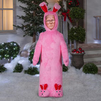 6' airblown Ralphie Christmas Story Fuzzy Plush Pink Bunny Inflatable Yard Decor