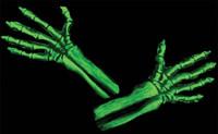 UV Green Glow Skeleton Reaper Gloves Monster Arms Hands Halloween Costume Accessories