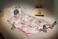 Life Size Zombie Bloody Death Bed Rotting Corpse Halloween Prop Decoration Decor