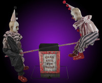 Life Size Animated See Saw Circus Clowns Haunted Playground Halloween Prop
