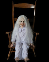 Life Size Animated Rocking Ghost Girl Haunt Creepy Spirit Child Halloween Distortions Unlimited Prop