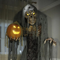 7' Life Size Animated Jack Stalker Reaper Pumpkin w/ Halloween Prop Decor