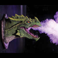 """Life Size 28"""" 4 Colors Dragon Head Wall Mount Lighted Fog Monster Legend Halloween Prop"""
