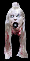 Realistic Life Size Rat Girl Severed Head Blond Puppet Halloween Prop