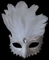Victorian Carnival Feather Masquerade Ball Halloween Costume White Face Mask