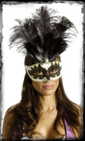Victorian Carnival Black Feather Masquerade Ball Halloween Costume Face Mask