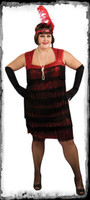 Adult Size 16-20 1920's Flapper Roaring 20's Glamor Fring Halloween Costume