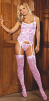 3 Pc Valentine Bustier Pink White Set Adult Woman Sexy Valentines Day Costume