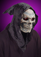 Hooded Skull Flexi Face Grim Reaper Halloween Mask Costume