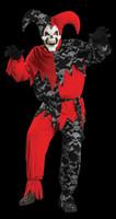 Striking Sinister Jester Skull Mardi Gras Evil Clown Halloween Mask Costume