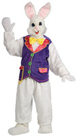Plush Adult Deluxe White Easter Bunny Rabbit Mask & Costume Vest & Bowtie