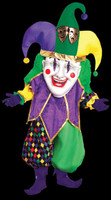 Oversized Parade Pleaser Jester Mardi Gras Evil Clown Halloween Mask Costume