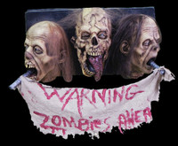 Life Size Latex 3 Zombie Heads Warning Wall Plaque Sign Halloween Prop