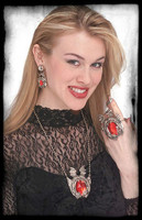Gothic Demon Costume Jewelry Set Earings Broach Ring Halloween Costume Accessory