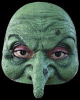 Comfortable Realistic Green  Wicked Witch Face Latex Halloween Costume Half Mask