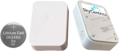 SkyCentrics Bluetooth Low Energy (BLE) sensors have over 1 year of battery life, as they measure temperature, humidity, barometric pressure, door open/close magnetometer and provide a button to activate events on the SkyCentrics system.