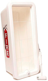 White Cato Chief 10 lb Fire Extinguisher Cabinet with Hammer