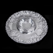 "Bunny Chip and Dip 14""dia. metal alloy non-tarnishing food safe"