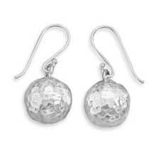 Hammered Sterling Silver Ball Earrings on French Wire