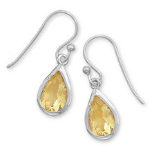 Faceted Citrine Pear Shaped Earrings