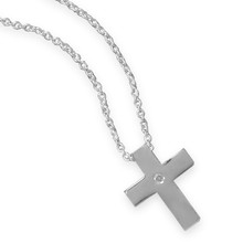 Cross Necklace with Diamond Accent 18""