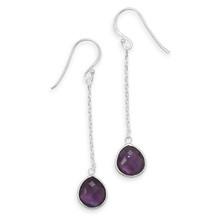 Amethyst Chain Drop Earrings