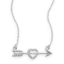 Arrow With Heart Necklace 16""