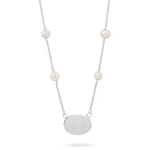 Cultured Fresh Water Pearl ID Tag Necklace