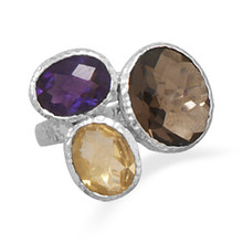 Amethyst,Citrine & Smokey Quartz Ring