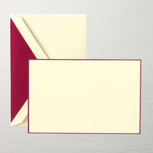 Cranberry Hand Boardered  Correspondence Cards