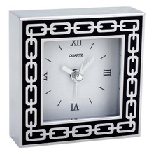 Silver Link Midnight  Black Enamel Clock